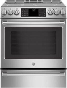 """GE Cafe(TM) Series 30"""" Slide-In Front Control Induction and Convection Range with Warming Drawer"""