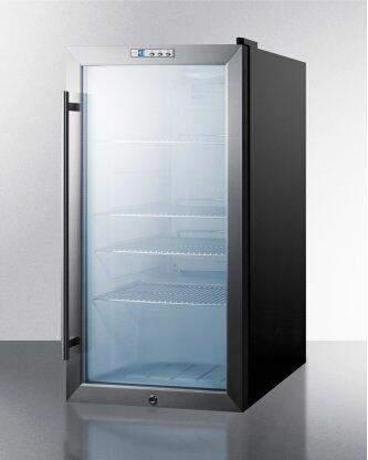 Commercial Freestanding Beverage Merchandiser Designed for the Display and Refrigeration of Beverages and Sealed Food, With Glass Door, Black Cabinet, Front Lock, and Digital Thermostat
