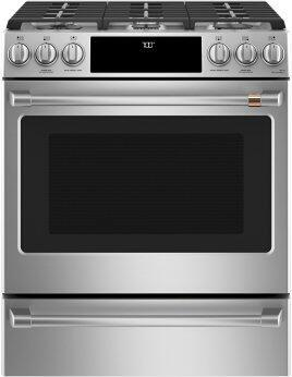 """Café™ 30"""" Smart Slide-In, Front-Control, Gas Range with Convection Oven"""