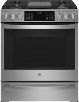 "GE Profile™ 30"" Smart Slide-In Front-Control Gas Fingerprint Resistant Range with Air Fry"