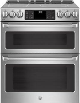 """GE Cafe(TM) Series 30"""" Slide-In Front Control Induction and Convection Double Oven Range"""